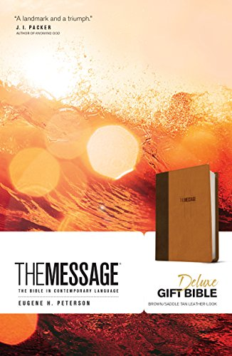 The Message Deluxe Gift Bible (Leather-Look, Brown/Saddle Tan): The Bible in Contemporary Language (White Christmas Lights Bulk)
