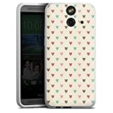 HTC One E8 Silikon Hülle Case Schutzhülle Herz Heart