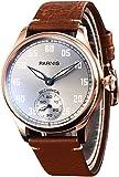 PARNIS 2149 mechanische Herrenuhr Handaufzug Edelstahl vergoldet Armband-Uhr Seagull ST36 Mineralglas Zwiebelkrone Lederarmband verglaster Rückboden