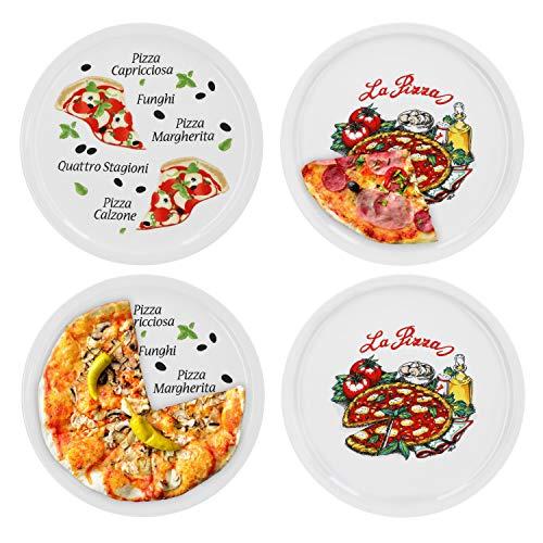 4er Set  Pizzateller Napoli & Margherita groß - 30,5cm Porzellan Teller mit schönem Motiv - für Pizza / Pasta, den \'großen Hunger\' oder zum Anrichten geeignet