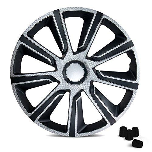 CM DESIGN Radkappen 16 Zoll VERON Carbon (Schwarz) passend für Fast alle Fahrzeuge inkl. 4 Ventilkappen! (Radkappen 16 Toyota)