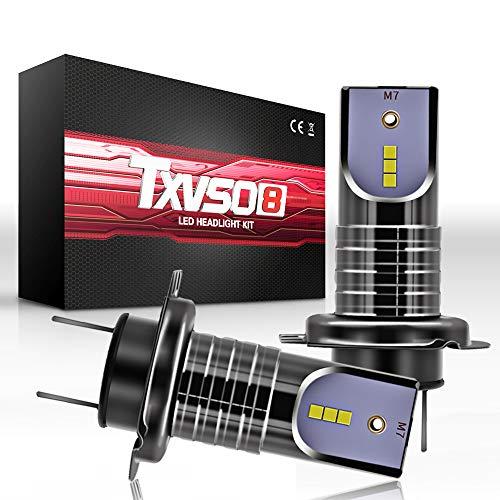 TXVSO 110W H7 LED Car Headlight 12000LM Kit di ricambio per lampade alogene allo xeno, bianco 6000K, adatto per tutte le auto H7, 55W/Lampadina, 2 pz/set