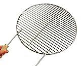 AKTIONA Ø 60 cm Edelstahl Grillrost + 2 Griffe/4mm Stäbe ! für Feuerschalen Grillschalen Grill Rund Kugelgrill Rundgrill