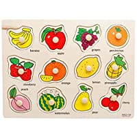 Rocita Wooden Fruit Matching Pegged Puzzles, Creative Wood Educational Shape and Color Puzzle for Your Kids