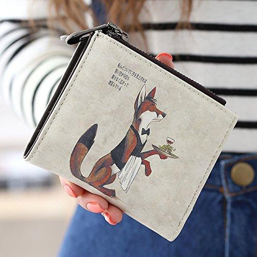 Cozywind Borsa frizione breve portafoglio Donna Corto Della Moneta Pelle Cerniera Vintage Graffiti Sottile (Short-Fox) Short-Fox