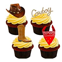 Made4You Cowboy/Western Edible Cake Decorations - Stand-up Wafer Cupcake Toppers