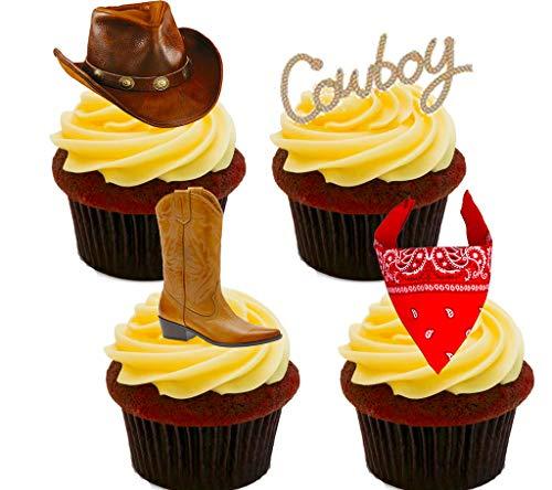 Vaquero/Western-Decoración para tarta para comestible stand-up Cupcake de oblea toppers, 12 unidades