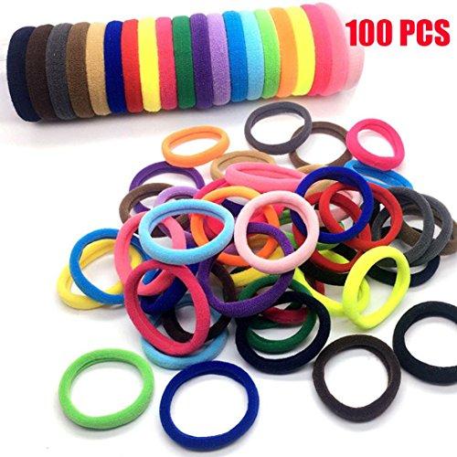 VENMO 10 Stücke / 20 Stücke / 50 Stücke / 100 Stücke Frauen Mädchen Haarband Krawatten Elastischer Seilring Haarband Pferdeschwanz Halter Yoga Sport Haarband Stirnband Stirnbänder (100Pcs)