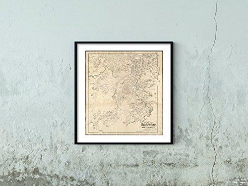 New York Karte Company (TM) 1898Karte Boston der Stadt Boston und Umgebung ausgerichtetes mit North auf Das Oben Links. Covers|Historic Antik Vintage Reprint|Ready Zum Rahmen
