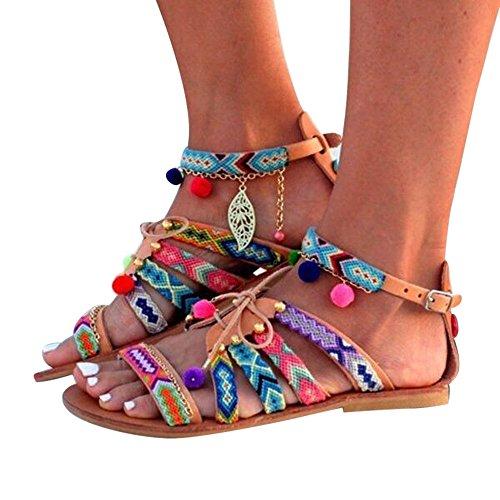 ZARLLE Sandalias De Mujer Verano Sandalias Bohemia Mujer Gladiador Sandalias De Cuero Zapatos Bajos Sandalias Pom Pom Sandalias Casuales Zapatos De Playa Sandalias (37, Multicolor)
