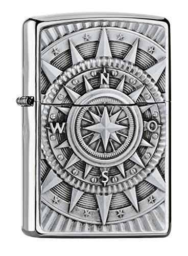 Zippo Compass Emblema Mechero de Gasolina, latón, Aspecto de Acero In