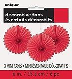 Unique Party 63255 - Mini Ventaglio in Carta Velina Rossi Decorativi, Confezione da 3