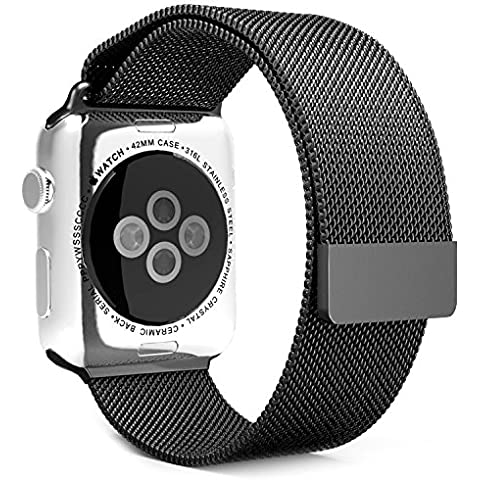 Apple Watch Band in acciaio inox 42mm iWatch cinturino per Apple Watch, lucidare bracciale in metallo con farfalla fibbia e qualità connettore [Free protezione per lo schermo in vetro temperato]