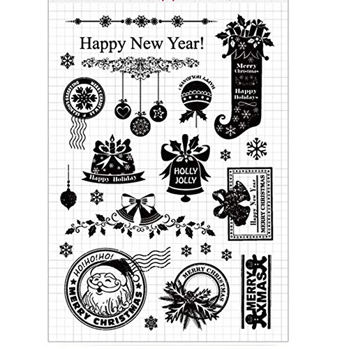Weihnachts-Neujahr Stechpalme Jolly Schneeflocken Dekorationen Kugeln Glöckchen Gummi Klar Stempel/Siegel/Scrapbook/Foto-Dekorative Karten machen transparenter Stempel -