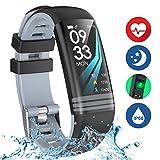 Yoolaite Fitness Armband Uhr Wasserdicht Fitness Trackers mit Pulsmesser Farbbildschirm Smart Watch Aktivitätstracker Pulsuhren Schrittzaehler Stoppuhr Fitness Uhr für Damen Herren Kinder