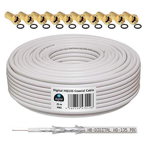 135dB 25m Koaxial SAT Kabel HQ-135 PRO 4-Fach geschirmt für DVB-S / S2 DVB-C und DVB-T BK Anlagen + 10 vergoldete F-Stecker Set Gratis dazu