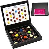 Hallingers Pralinen-Geschenk Vielen Dank Pink - 24 Pralinen feinster Schokolade, z.B. für Muttertag, Vatertag, Valentinstag, Geburtstag, Danke | FirstClass-Box | 300g
