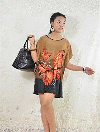 QIYUN.Z Frauen Schmetterling Gedruckte Kurzfluegelhuelse Der Losen Sommer-Strand-Minikleid Khaki