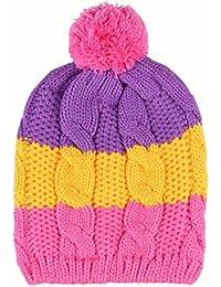 Wuiyepo Bébé Filles Garçons tricoté hiver Hat infantile Crochet Cap chaud Chapeau de Rainbow