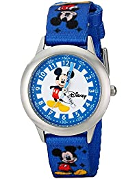 Disney Kids W000022 Time Teacher Stainless Steel Watch with Blue Nylon Band