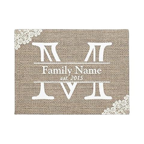 Monogramme rustique Nom de la famille Paillasson en caoutchouc avant de sol Bienvenue Tapis de porte d