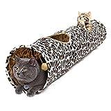 PAWZ Road Katzentunnel sämisch im Leoparden-Design faltbar Interaktives Katzenspielzeug Rascheltunnel schön Kätzchen Hasen Welpeln Kaninchen Kleintiere 130x30 cm