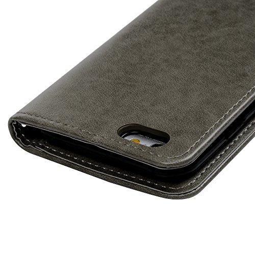 Cover iPhone 6S Flip Custodia iPhone 6 Libro Pelle PU e TPU Silicone con Funzione Supporto Chiusura Magnetica Portafoglio Libretto Bumper Case per iPhone 6/6S, Grigio Grigio