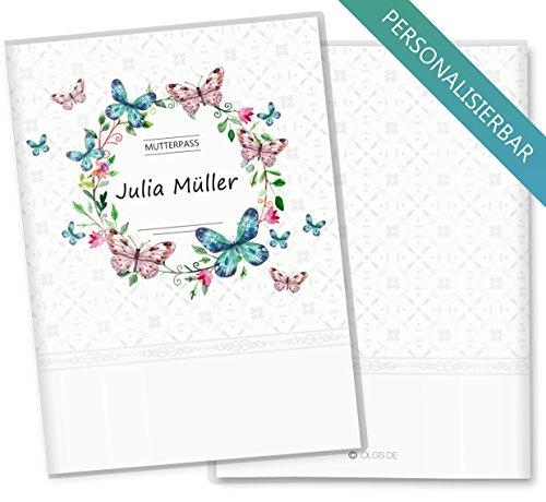 eilig Blumenkranz Schutzhülle Geschenkidee personalisierbar mit Namen (Mutterpass personalisiert, Schmetterling) (Personalisierte Schmetterling)