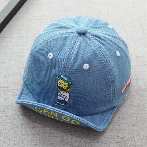 qqyz Baby Hut Boomer Baby Alphabet Stickerei Weich Entlang Kappe Kinder Retro-Cowboy Baseball Hut Frühling Und Sommer Schattierung Geeignet für 8-24 Monate Kopfumfang 47-51CM Dorflicht Blau