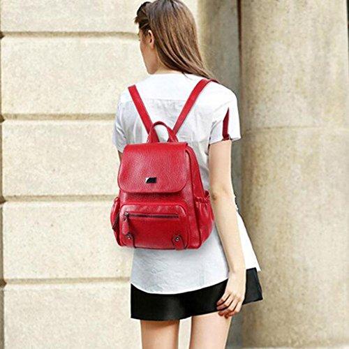 Y&F Hohe KapazitäT Leder Reiserucksack Schultertaschen Handtasche 26 * 30 * 15 Cm Red