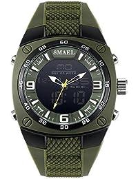 SMAEL Military Men Watch, Alloy Big Dial Sport Watch Waterproof Dive Digital Quartz 1008 Men's Wristwatch - B07F9PZH7N