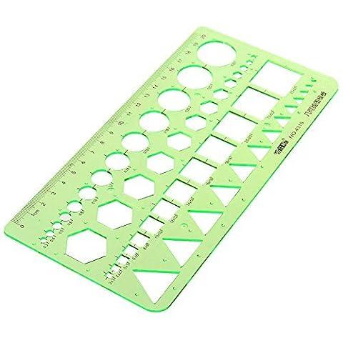 Master Modèle Plastique géométrique Règle avec 4designs, 21,8x 10,7cm, Vert