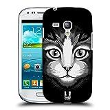 Head Case Designs Tabby Katze Grosses Illustrierte Gesicht 2 Ruckseite Hülle für Samsung Galaxy S3 III mini