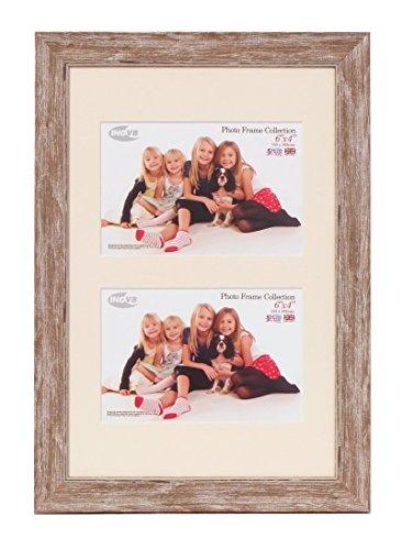 Inov8 PFES-SWWA-DA1 Traditionell Briten Foto und Bilderrahmen, 20 x 30 cm, Dual Blende 2x 10 x 15 cm, wasch klein walnuss