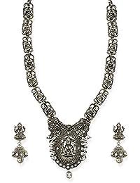 Zaveri Pearls Antique Silver Tone Goddess Temple Necklace Set For Women-ZPFK6761