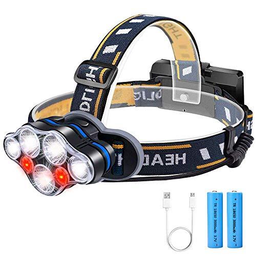 Stirnlampe LED, USB Aufladbar Kopflampe SOS Rotlicht mit 18650 Batterie, Karrong Super Hell Wasserdicht Stirnlampe, 8 Modi Perfekt für Outdoor Camping Wandern Angeln