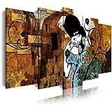 DekoArte Cuadro Moderno de 5 Piezas con Diseño El Beso Gustav Klimt, Tela, Multicolor, 200x3x100 cm