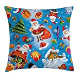 Christmas Decorations Throw Pillow Cushion Cover by, Santa Claus Themed Pattern Merry Christmas Jolly Gift Cartoon Art for Kids, Decorative Square Accent Pillow Case, 18 X 18 Inches, Multi