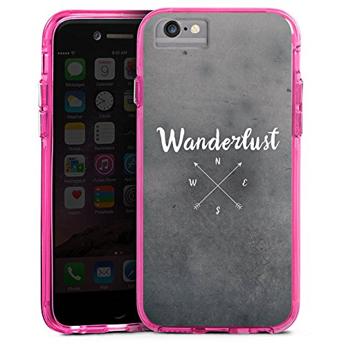 Apple iPhone 7 Plus Bumper Hülle Bumper Case Glitzer Hülle Wanderlust Kompass Reise Bumper Case transparent pink