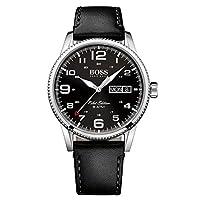 Hugo Boss Pilot Vintage Men's Black Dial Leather Band Watch - 1513330, Analog Display