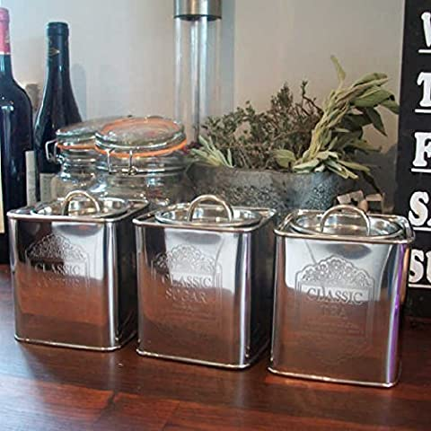 Klassische Tee- / Kaffee- & Zucker-Dosen–Aluminium poliert, mit Geschenkanhänger