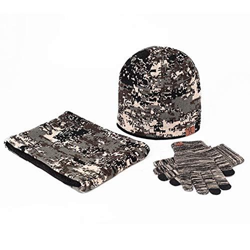 Wintermütze Mütze Schal Handschuh-Sets Camouflage Gestrickt Beanie Mütze Wollmütze Strickmütze Earflap Plüsch Hut,EINWEG Verpackung ()
