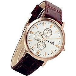 lancardo einfach Herren Couple Armbanduhr mit Kalender Original Braun Leder Band Rose Gold Tone Fall (Herren)