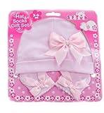 Conjunto gorro y calcetines de nacimiento para bebe niña algodón...