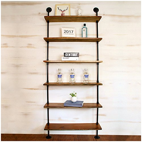 6-tier-bücherregal (6 Tiers Massivholz Wandregal Mit Eisen Metall Wasser Rohr Regale Wandbehang für Wohnzimmer als Bücherregal Lagerregal | Wandschmuck Design Vintage LOFT Stil ( größe : 80cm*20cm ))