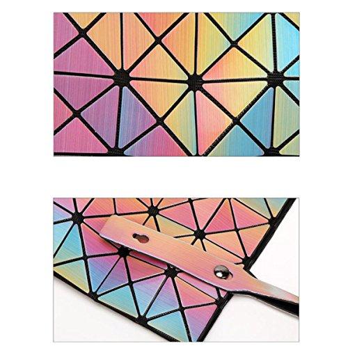 2017 6 * 6 Laser Rombo Pacchetto Geometrica Varietà Cubo Cuciture Pieghevole Borsa Moda Personalità Colorato Pieghevole Il Sacchetto GradientColor