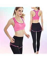 La Sra aptitud traje trajes ropa de yoga hecho sujetador deportivo , rose red , m