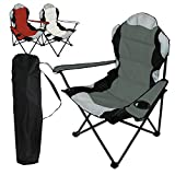 Linxor France  Chaise de camping pliable + Sac de transport - 3 Coloris - Norme CE - Gris