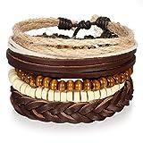 JewelryWe Bracciale da Uomo Donna Charm Braccialetto in Pelle, Set Braccialetti Registrabili Braccialetti Bussola Etnici Originali, Buen Regalo di Natale