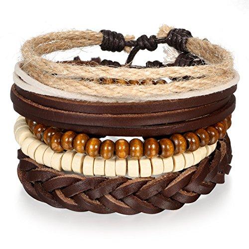 5 Stück Herren Armband Leder Armband Armbänder Schmuck Set braun weiss , Vintage Breite Geflochten Lederarmband Surferarmband Armreifen , verstellbar